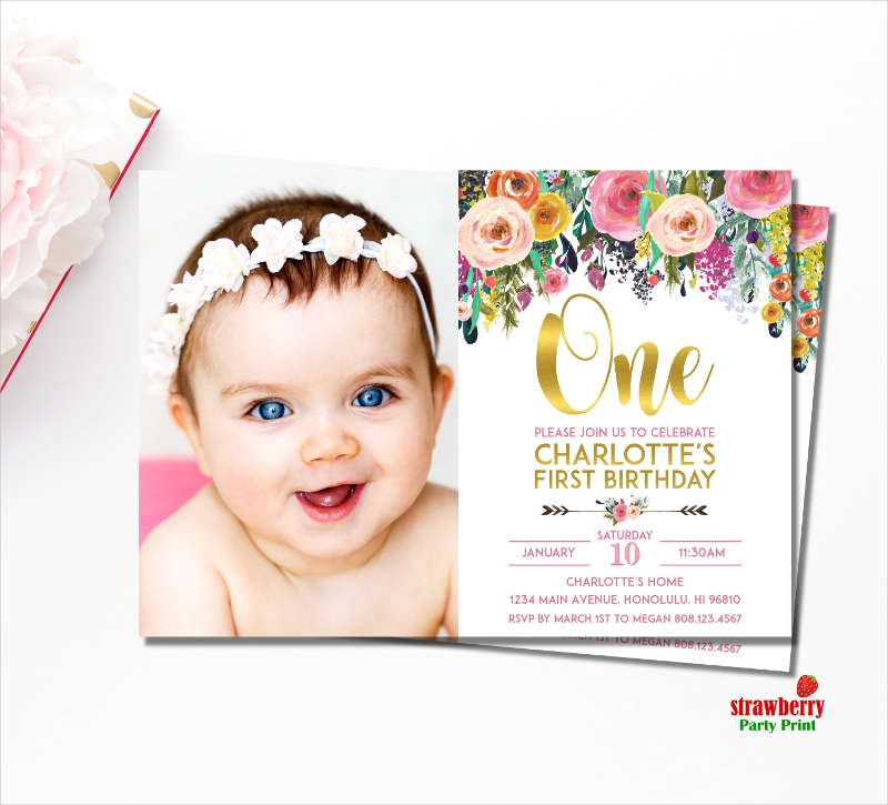 floral 1st birthday invitation1