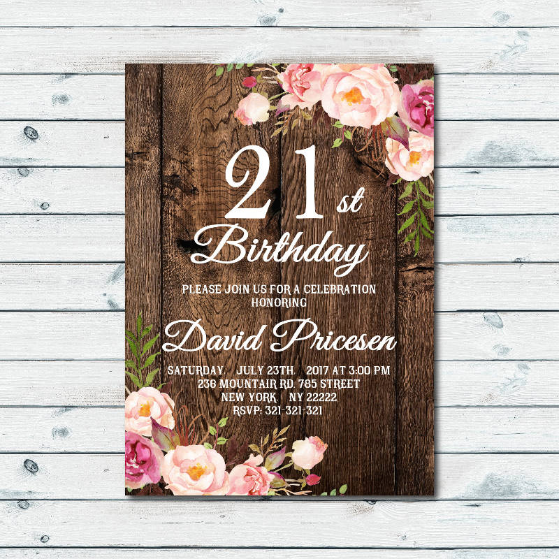 Floral 21st Birthday Invitation