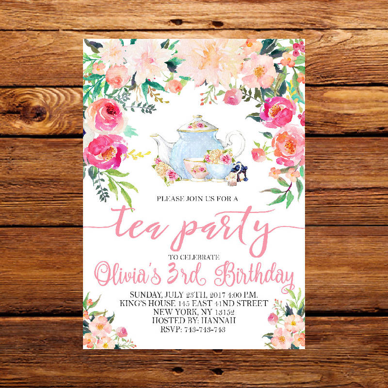 floral birthday tea party invitation