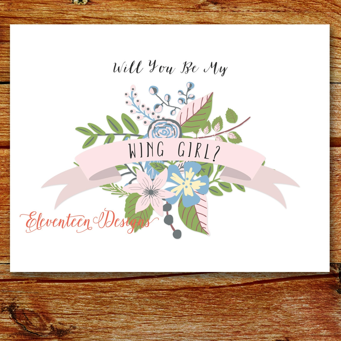 floral blush pink green bridesmaid invitation