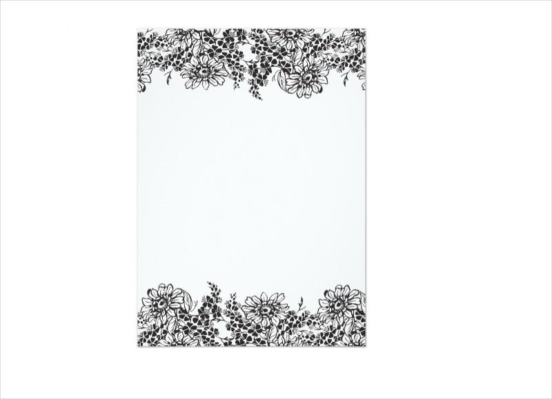 floral border blank wedding invitation