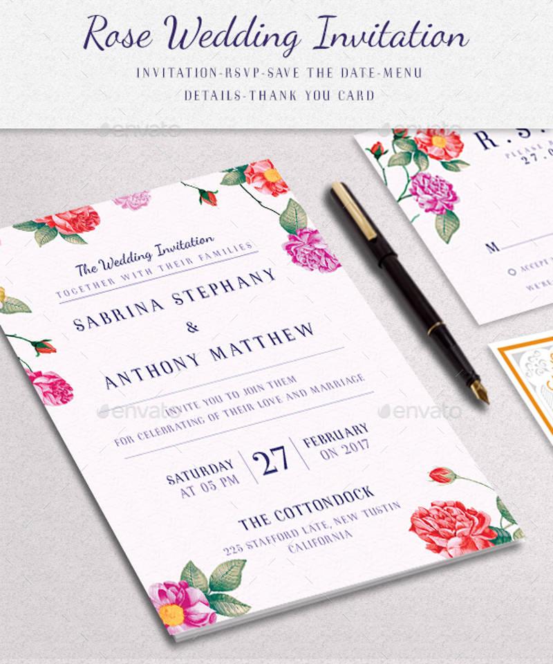floral elegant wedding invitation