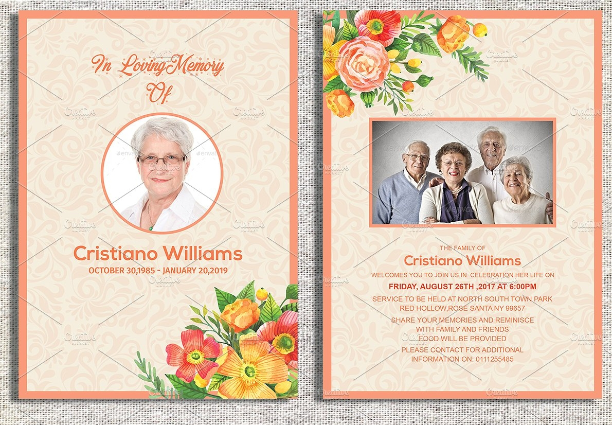 floral funeral invitation card