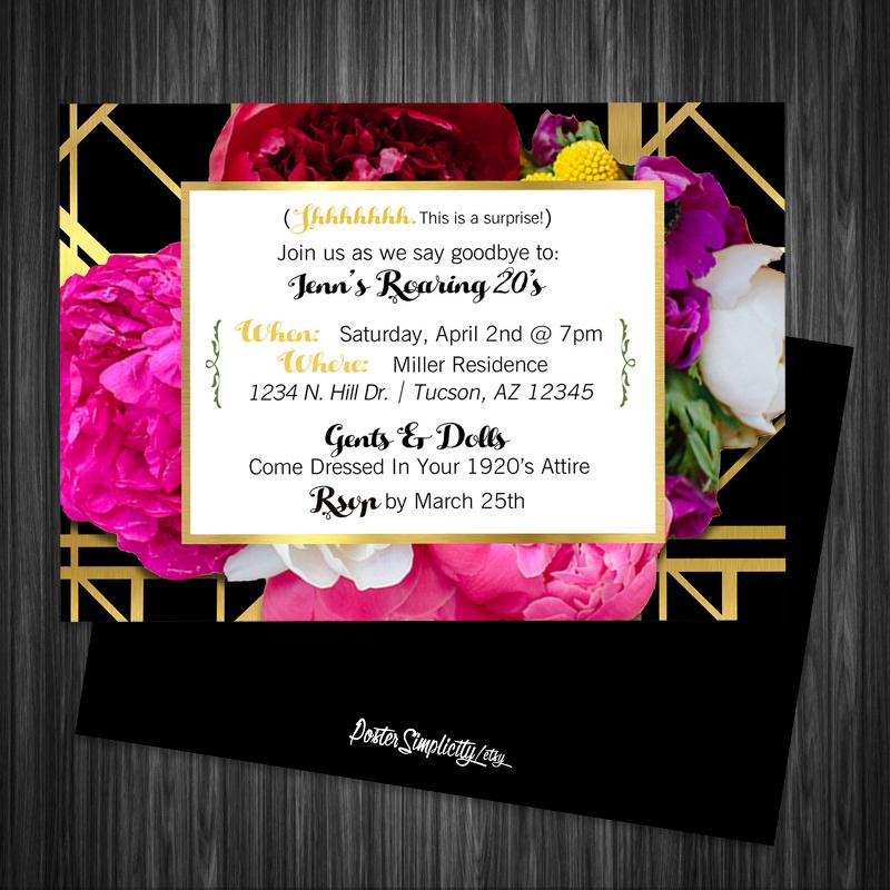 floral gatsby invitation