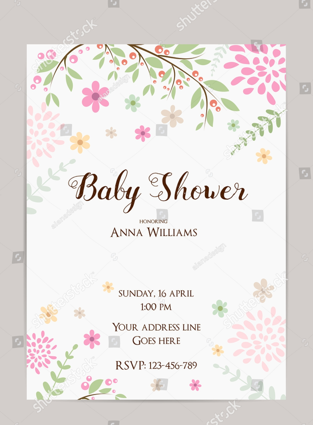 floral gender reveal party invitation