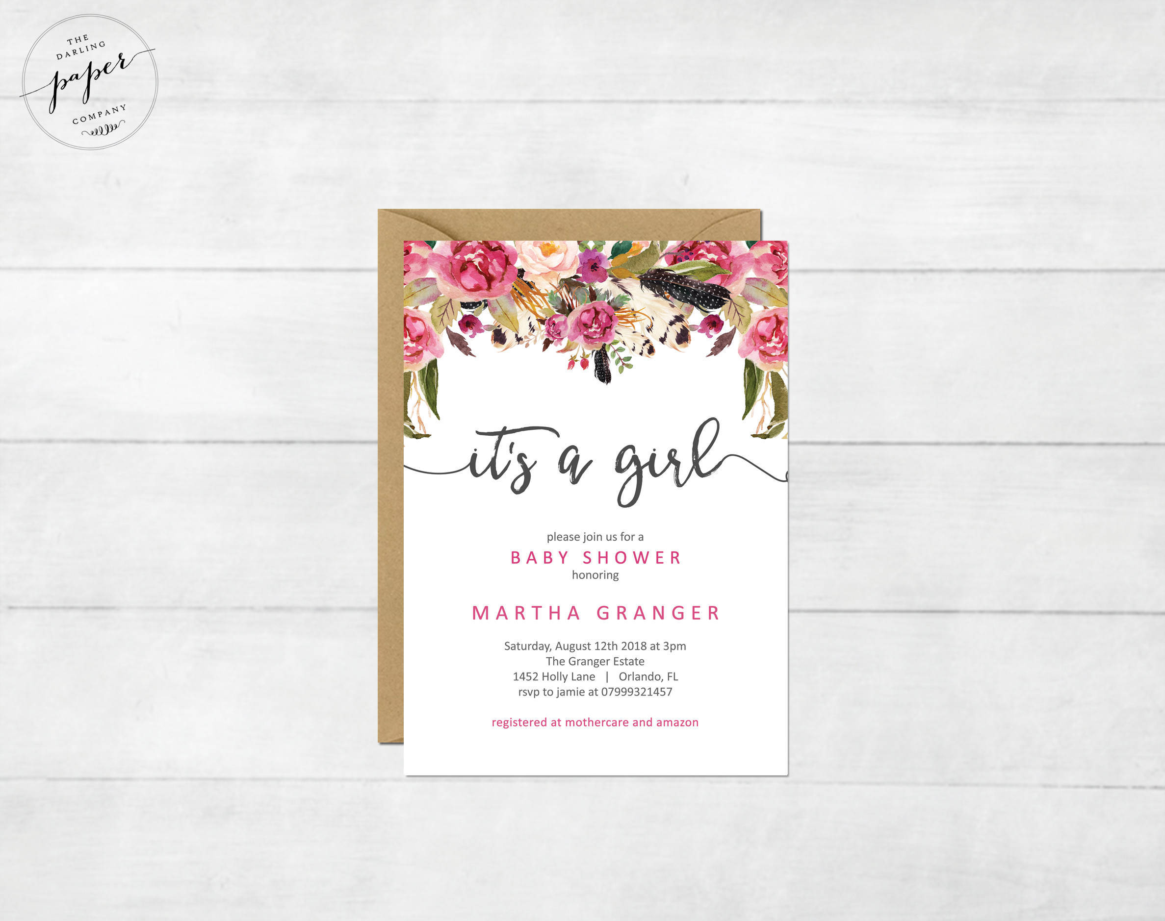 floral girl baby shower invitation