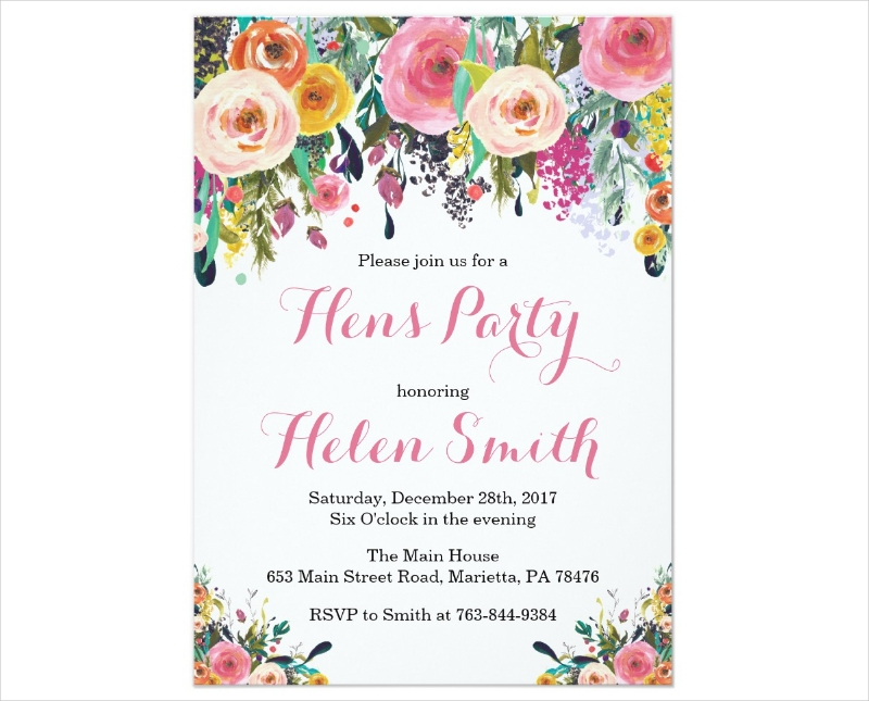 floral hens party invitation card