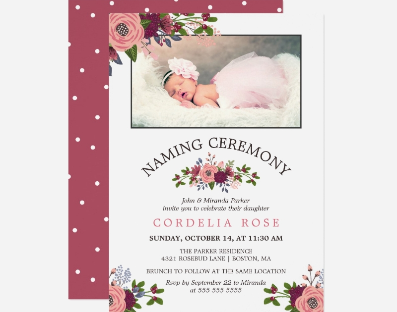 floral naming ceremony card invitation