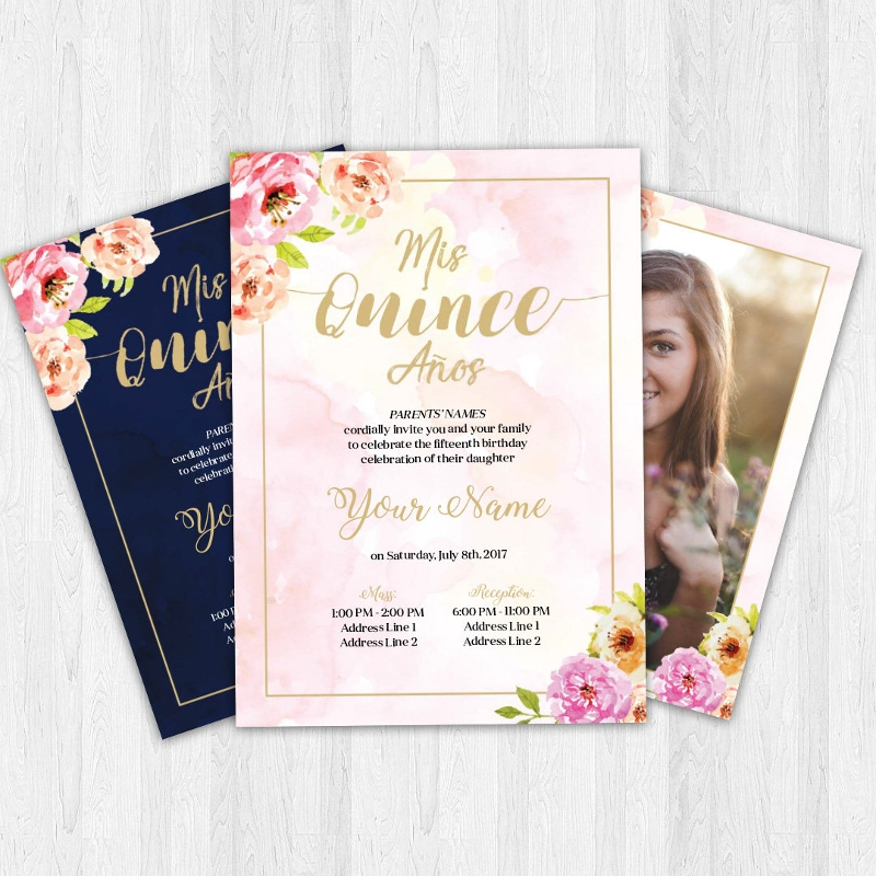 floral quinceanera invitation