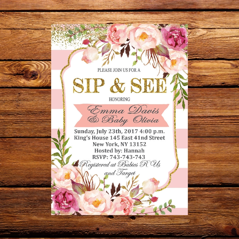floral sip and see invitation
