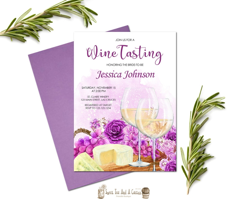 floral wine tasting bridal shower invitation