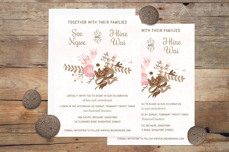 flower invitation template in eps download