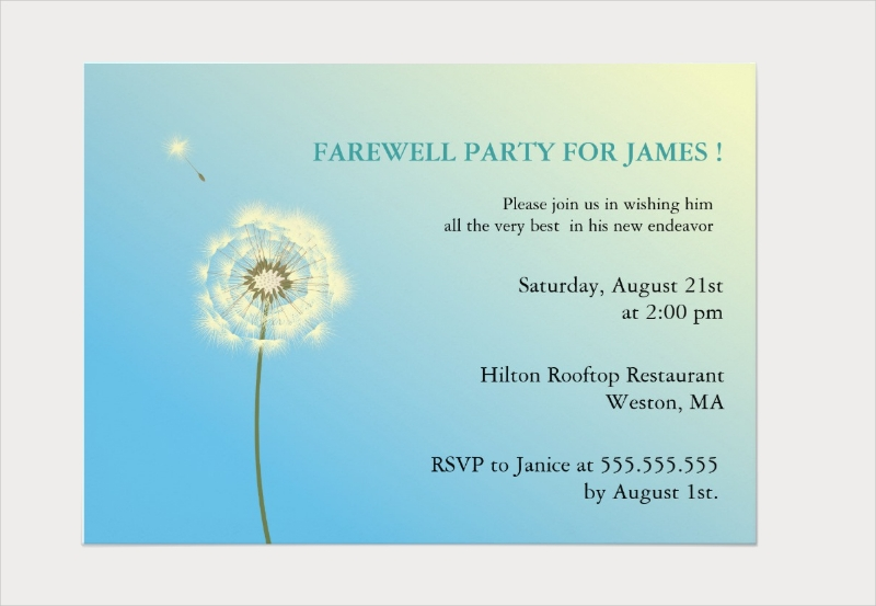 flying high farewell party invitation