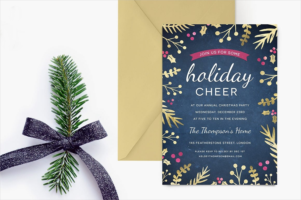 foilage holiday party invitation