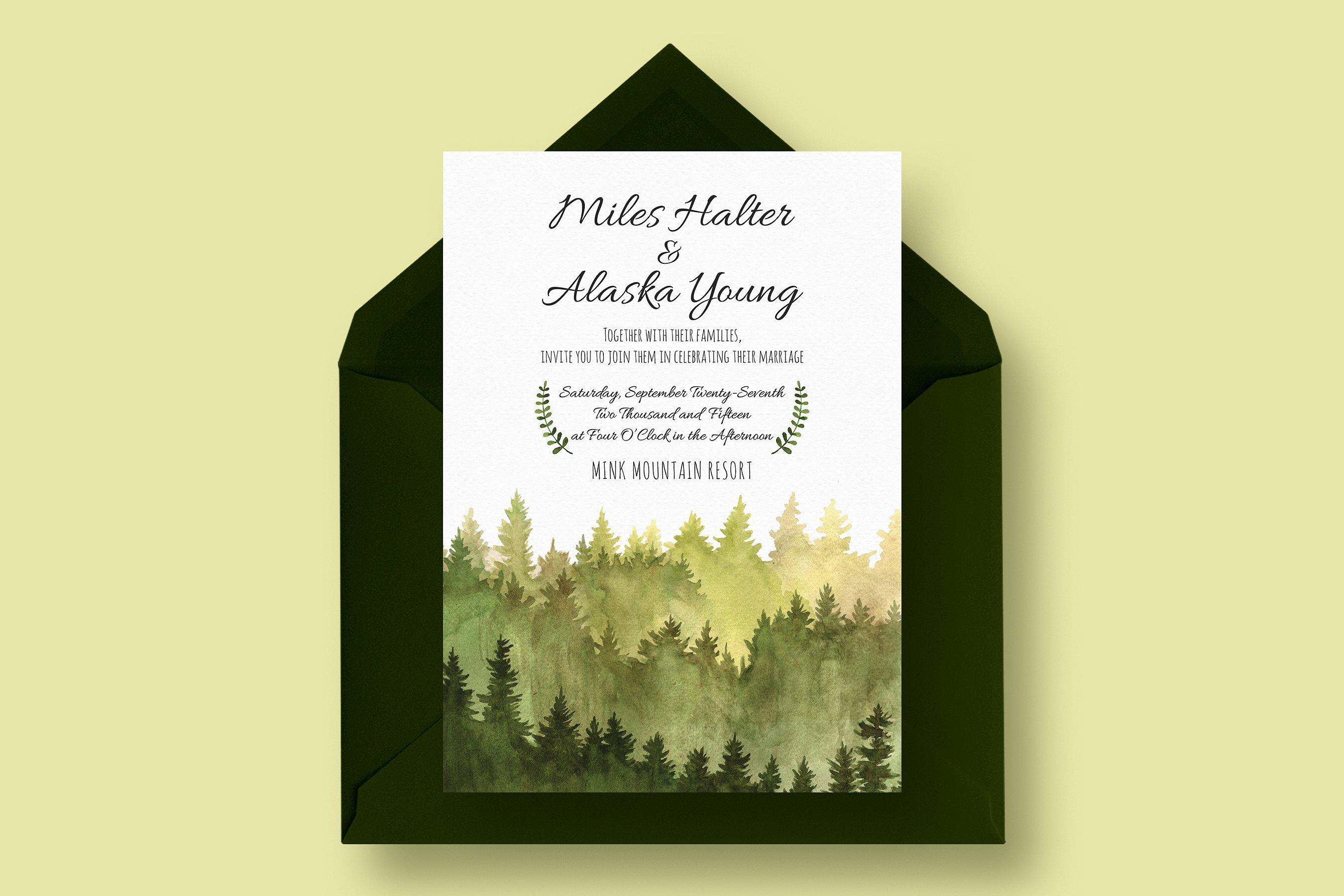 forest outdoor wedding invitation