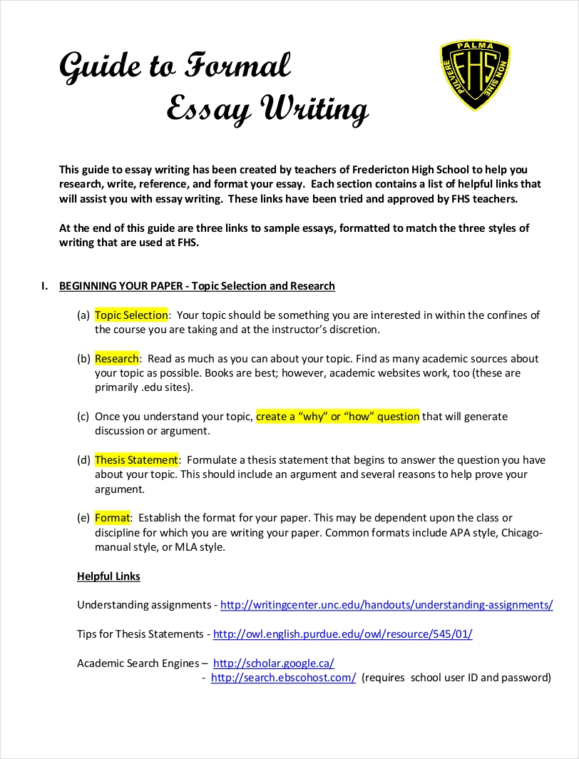 9 Samples Of Formal Essays Pdf Format Examples Of Formal Essays