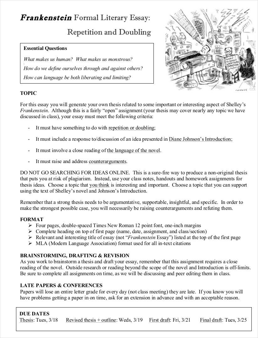 formal literary essay sample - Literary Essay Format