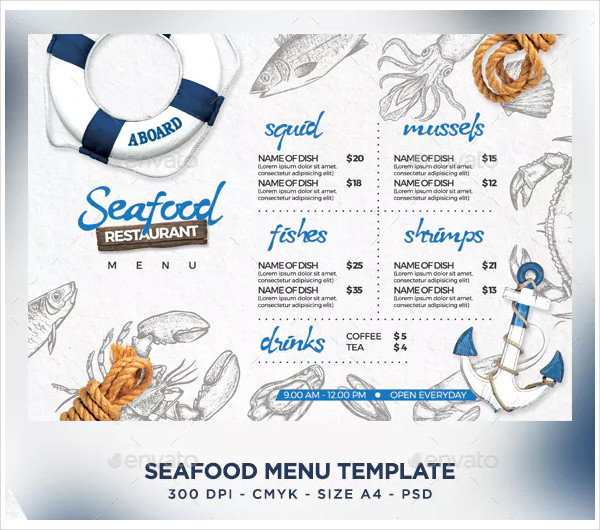 fresh seafood menu