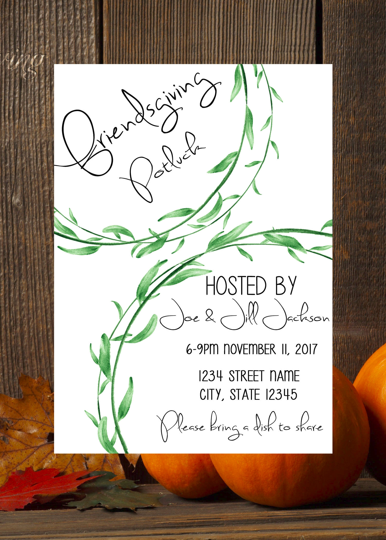 friendsgiving potluck digital invitation