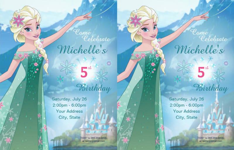 frozen 5th birthday party invitation