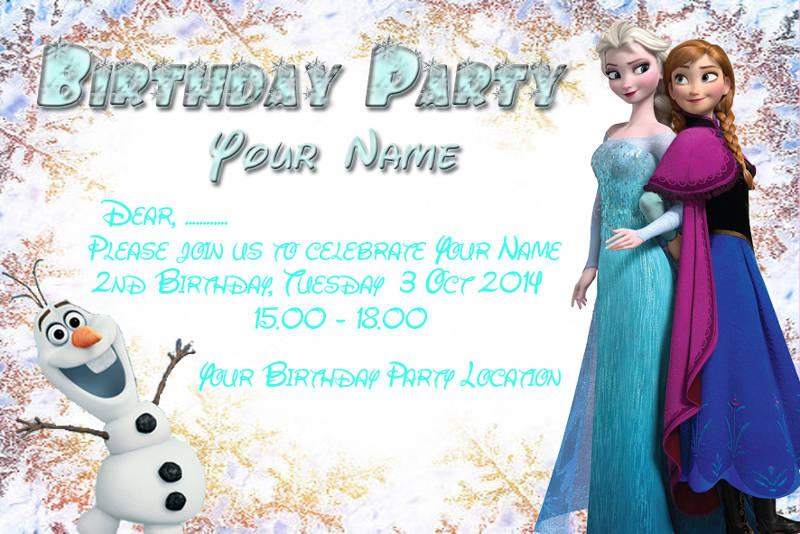 frozen birthday party invitation card