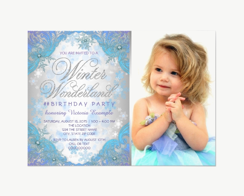 frozen birthday party photo invitation