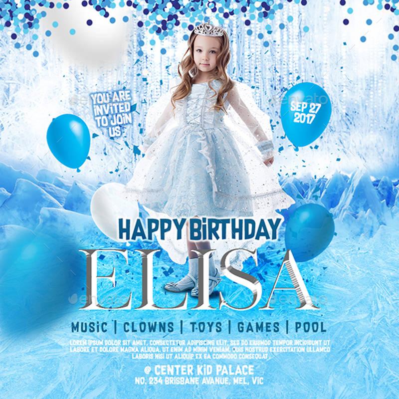 frozen theme kid birthday invitation