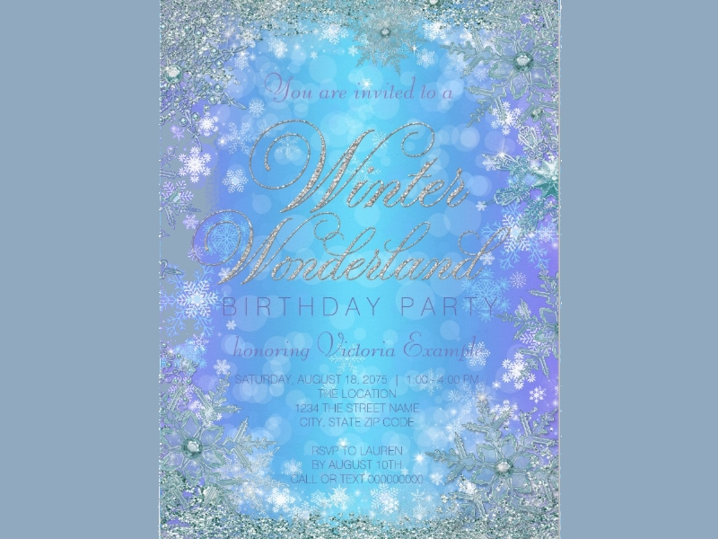 frozen winter wonderland birthday party invitation card1