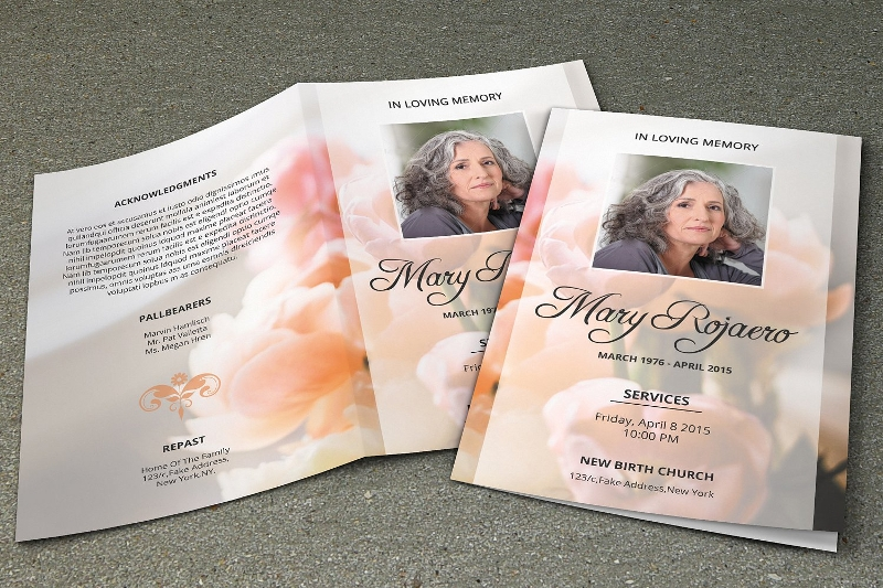 funeral event program brochure template