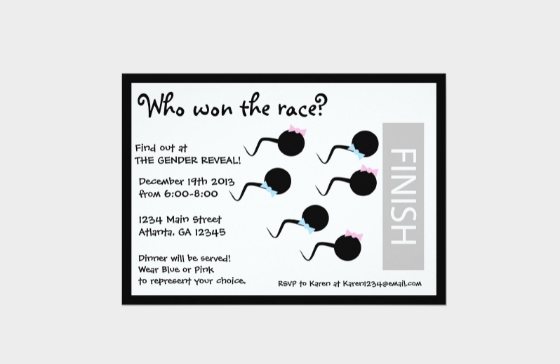funny gender reveal party invitation