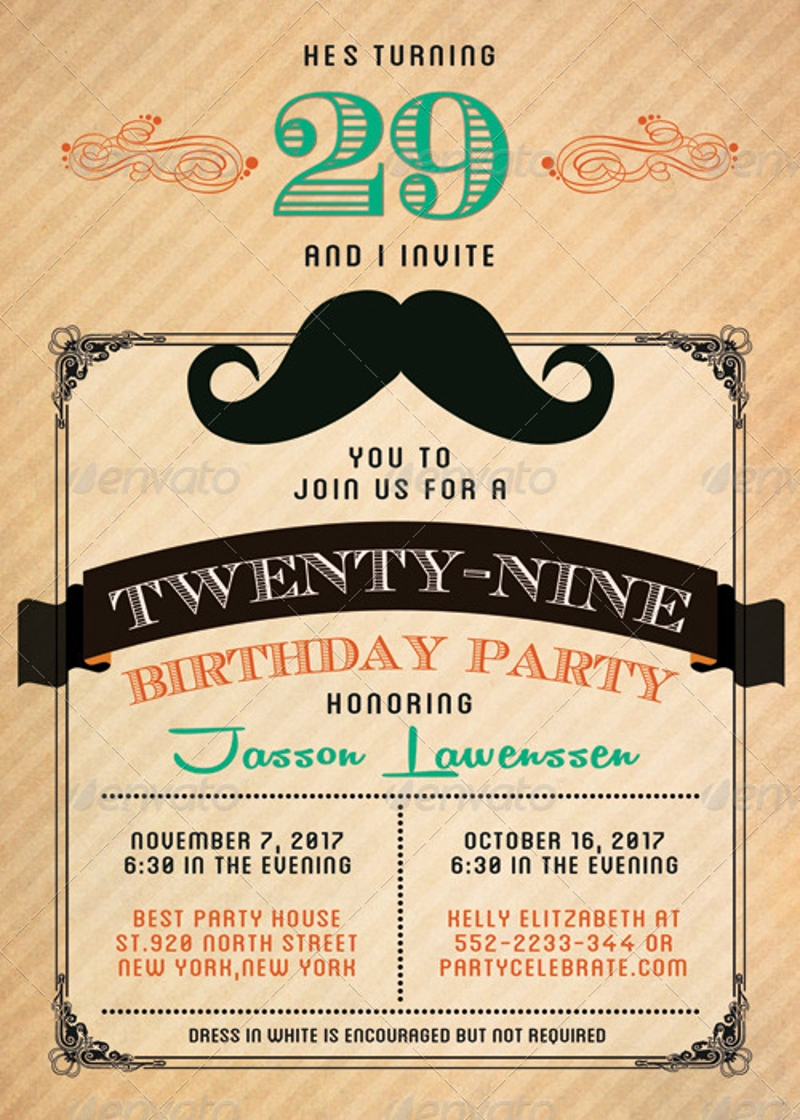 funny mustache birthday invitation