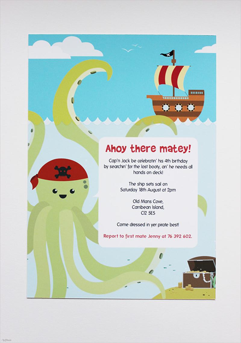 funny pirate party invitation