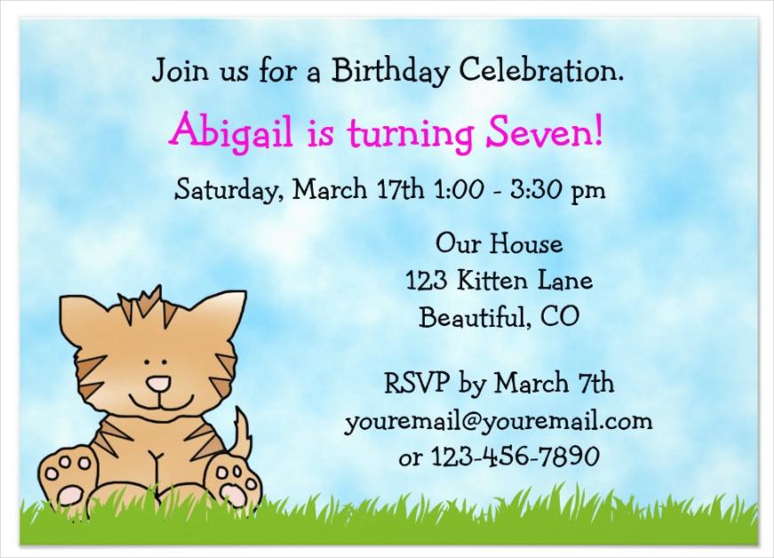 garden cat party invitation