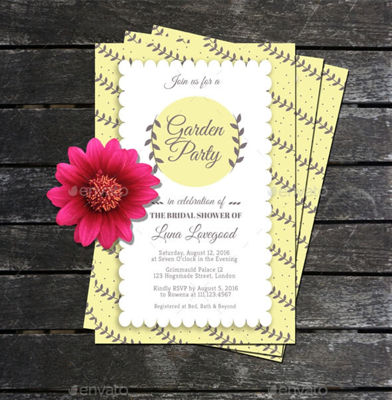 garden party bridal shower invitation