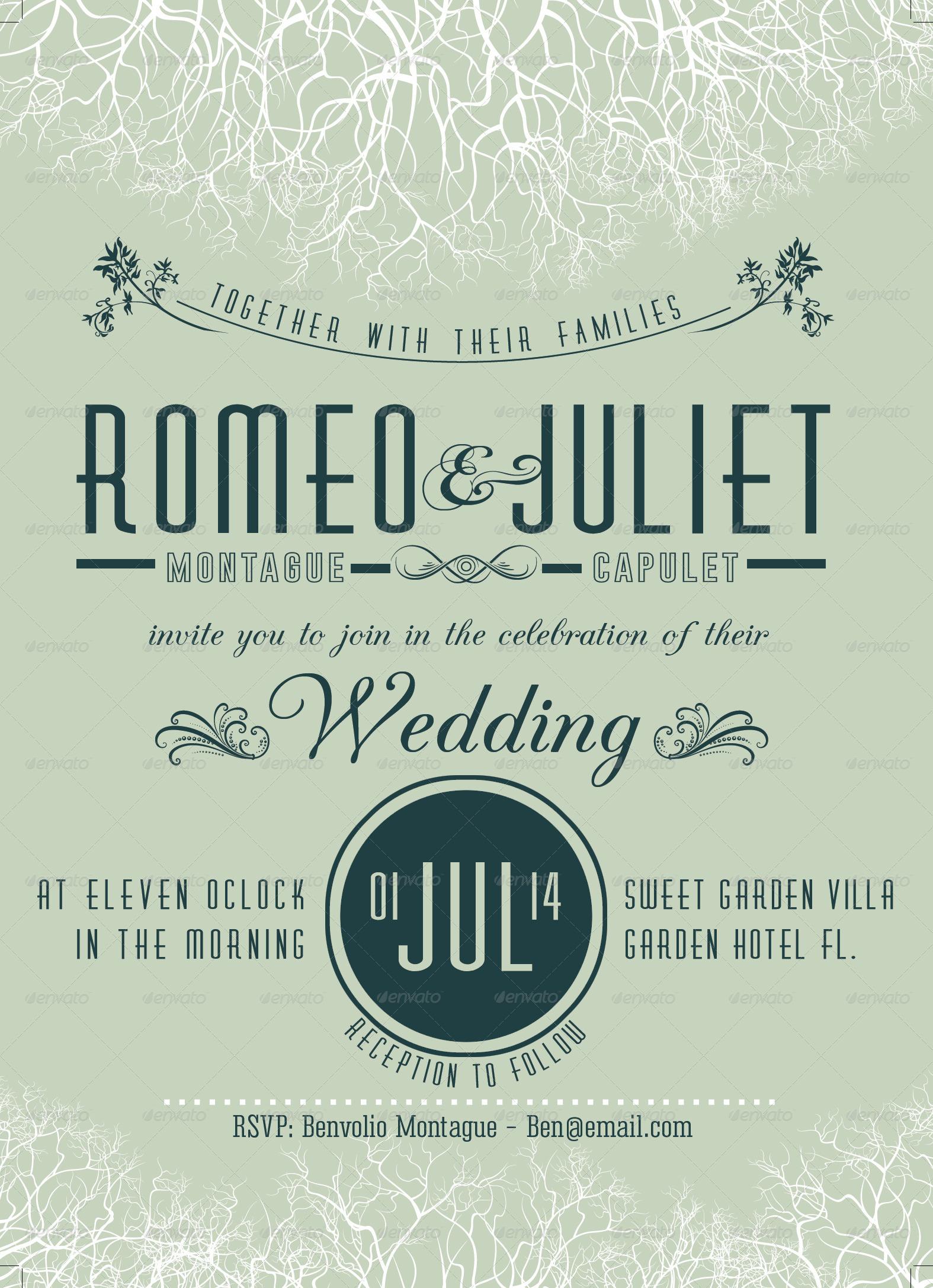 garden style wedding invitation