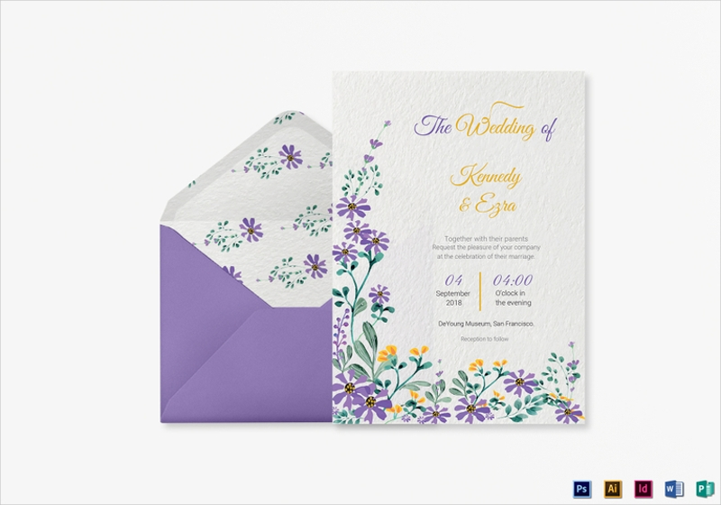 garden wedding invitation card template