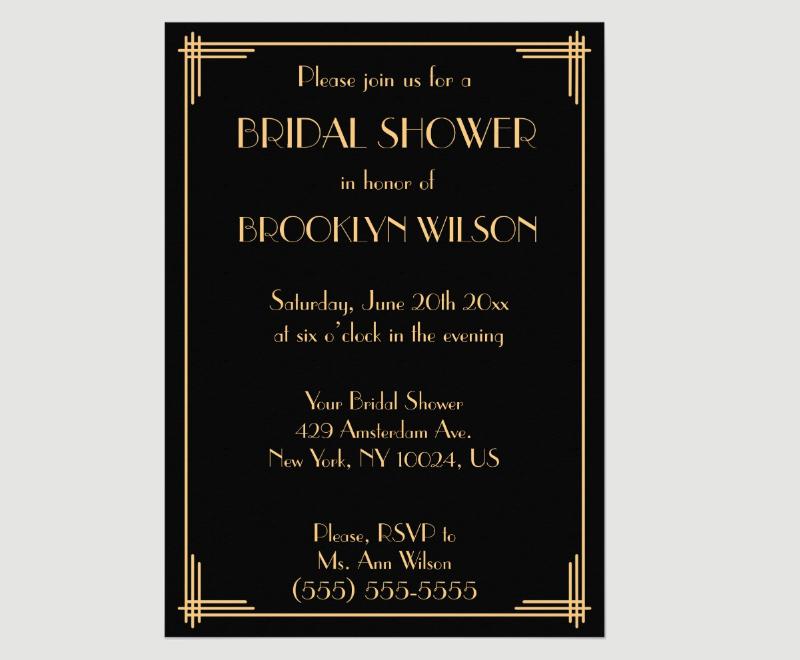 gatsby bridal shower invitation