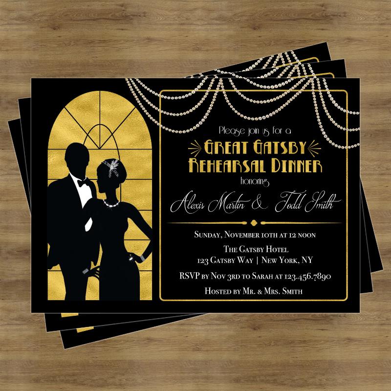 gatsby rehearsal dinner invitation