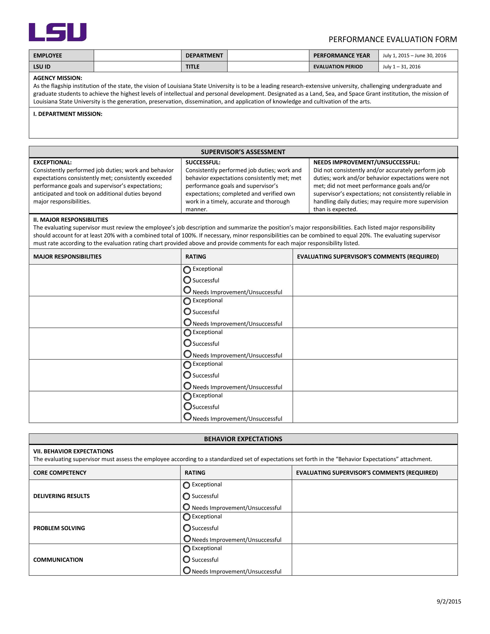 General Performance Evaluation Form