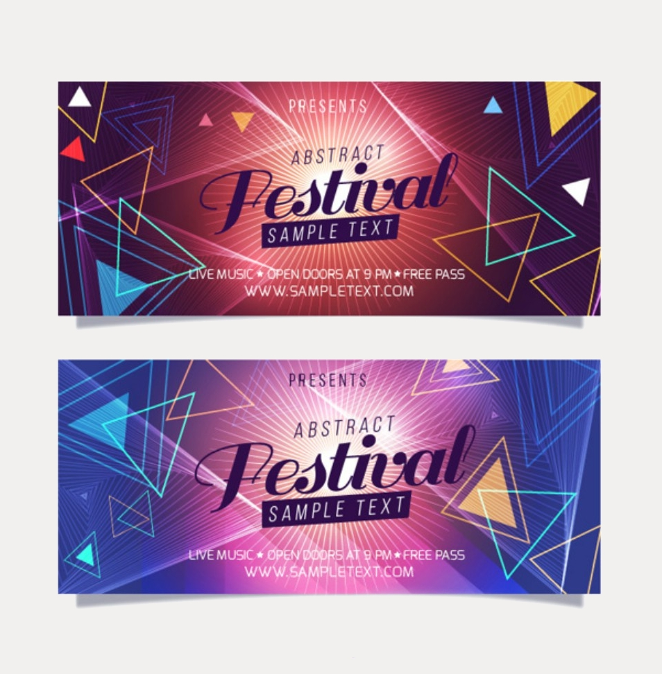 geometric event banners of music festival