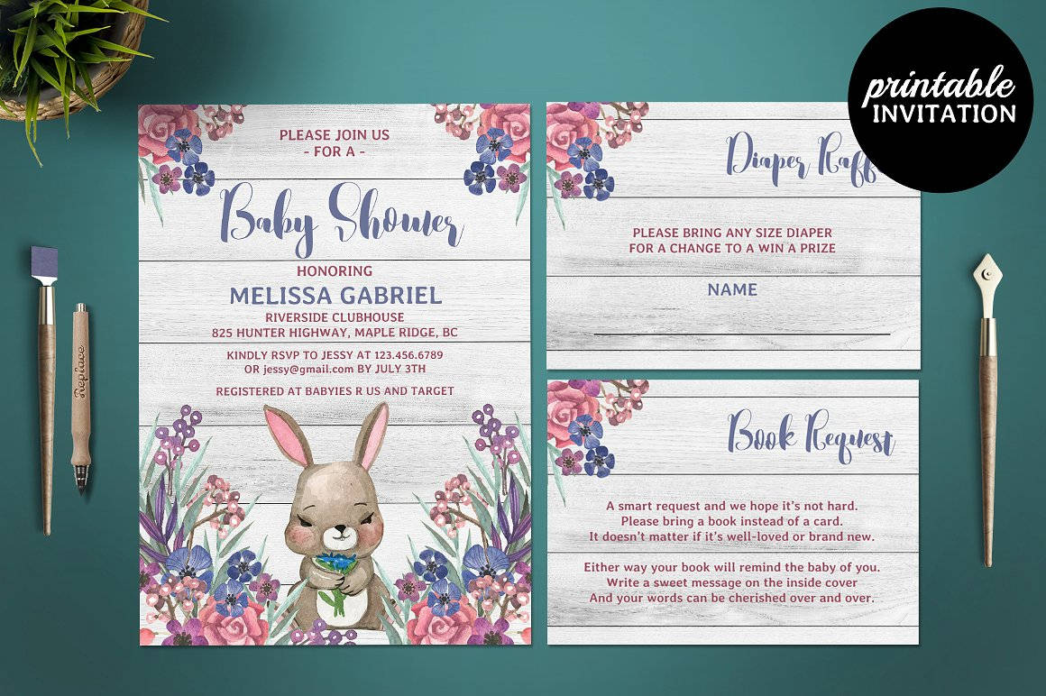 girl baby shower invitation card