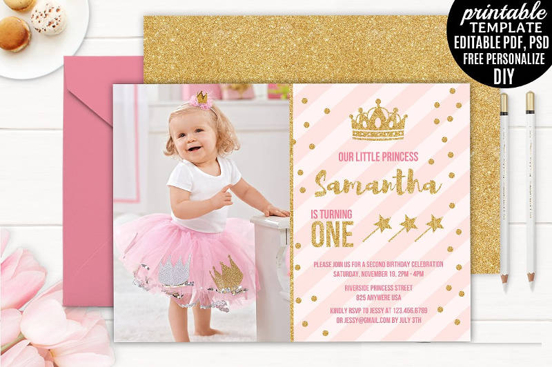girl birthday little princess party invitation