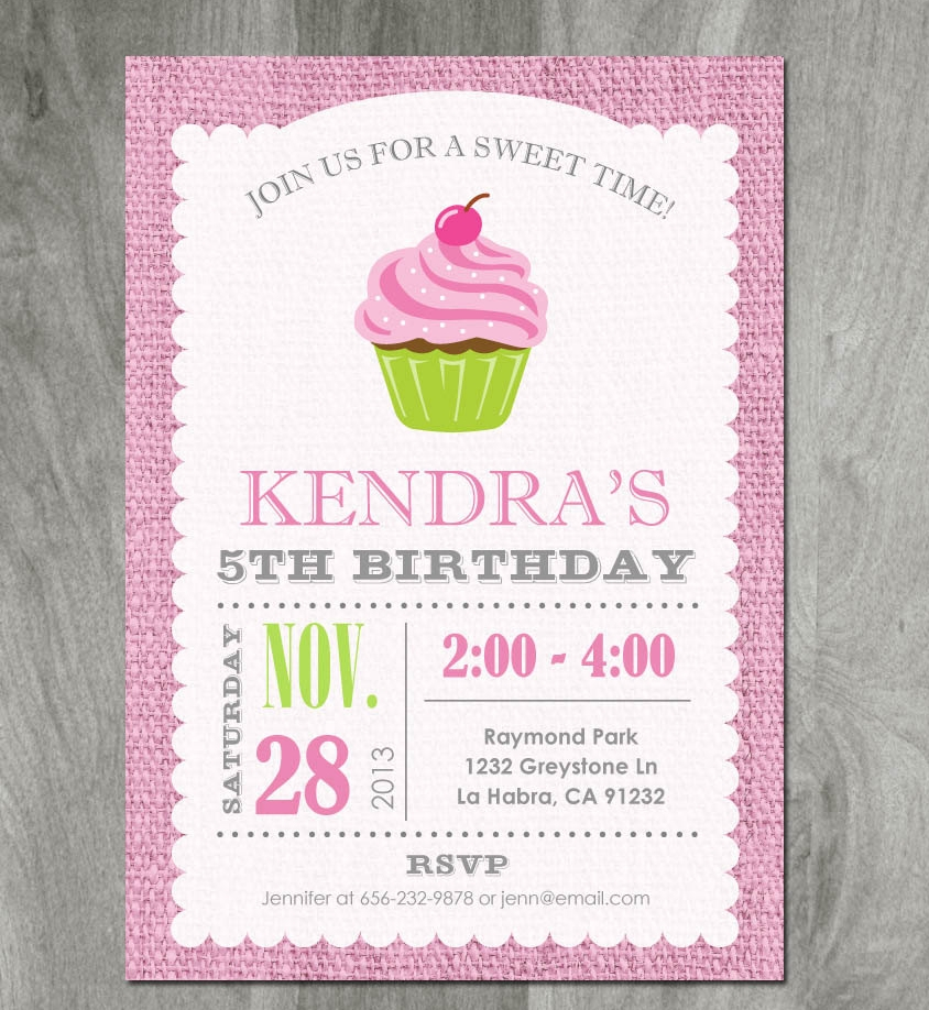 girl cupcake party invitation