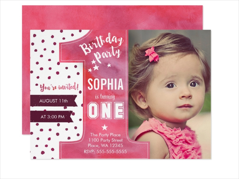 girl first birthday party invitation