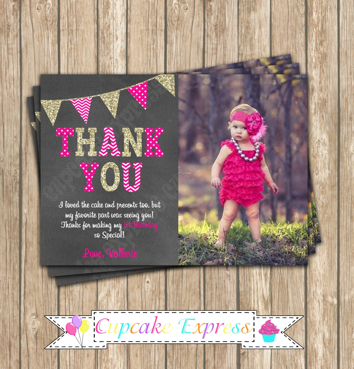 girl hot pink thank you invitation