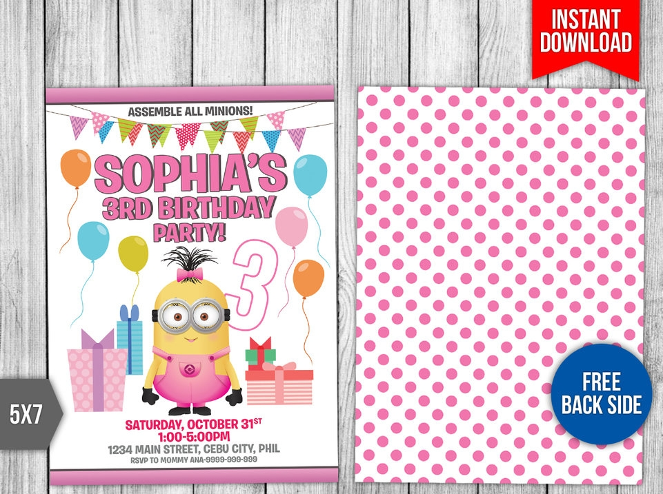 girl minion party invitation