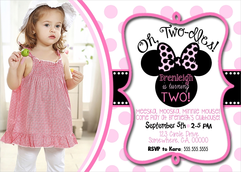 girl minnie mouse birthday invitation