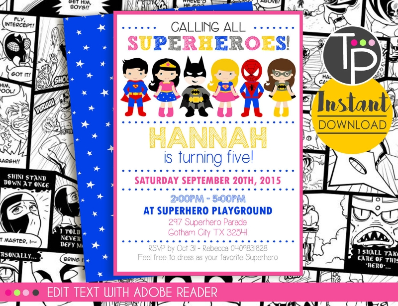 girl superhero invitation