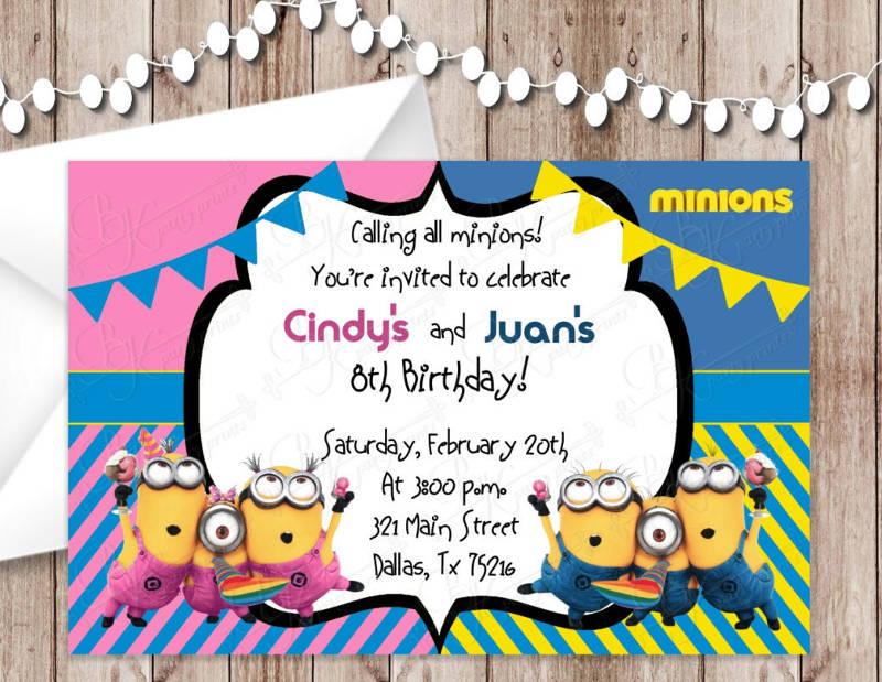 girl and boy minion birthday party invitation