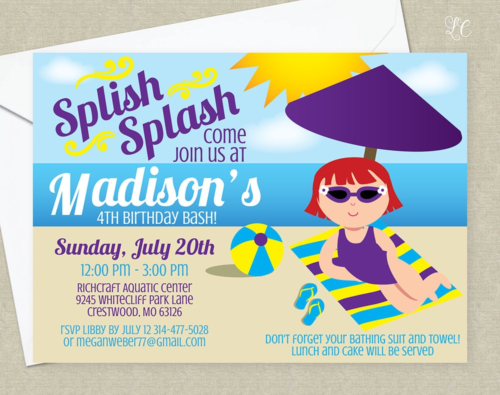 girls beach party birthday invitation